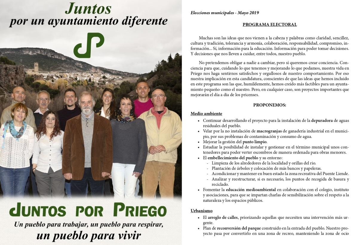 Juntos Por Priego presenta sus 32 compromisos electorales y toma la transparencia y la participación ciudadana como bases de su programa